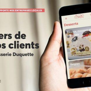 Nous sommes fiers de travailler depuis plusieurs années en collaboration avec la Pâtisserie Duquette. Une entreprise qui a su s'adapter, grâce à leur site Web transactionnel, afin de rester proche de sa clientèle durant cette période d'incertitude.